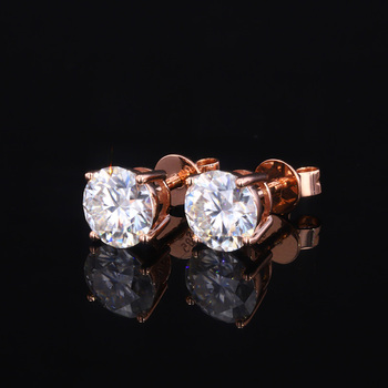 Starsgem hot sale rose gold earrings 1ct White moissanite 14k gold stud earring