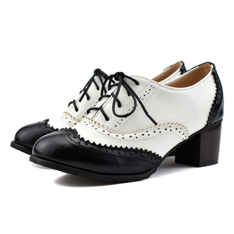 Womens Fashion Low Heel Dress Oxfords Comfortable Lace Up Mixed-Color Anti-Skid Pointed Toe Shoes