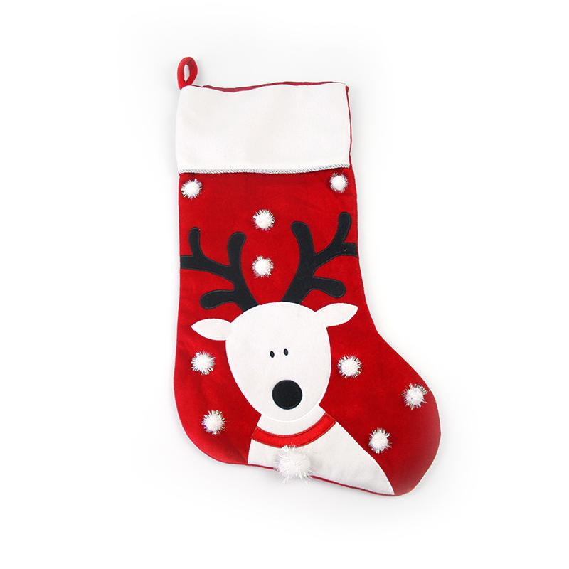 Оптовая продажа, красные флисовые рождественские носки, подарки, рождественские украшения