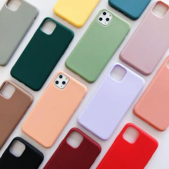 Phone Case For iPhone 11 11 Pro Max X XR XS Max 6 6s 7 8 Plus Fashion Candy Color Simple Solid Color Soft Silicone Case