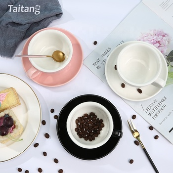 Restaurant Ceramic Coffee Cup And Saucer Set 220Ml White Ceramic Porcelain Cup And Saucer Coffee