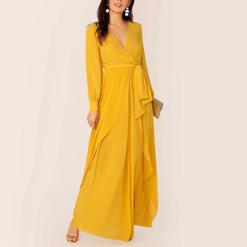 Женское Шифоновое Платье макси с оборками, элегантные летние повседневные платья