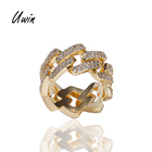 Fashion Hip Hop Cuban Chain Ring Iced Out Cubic Zirconia 18k Gold Plating Bling Ring Gift for Men
