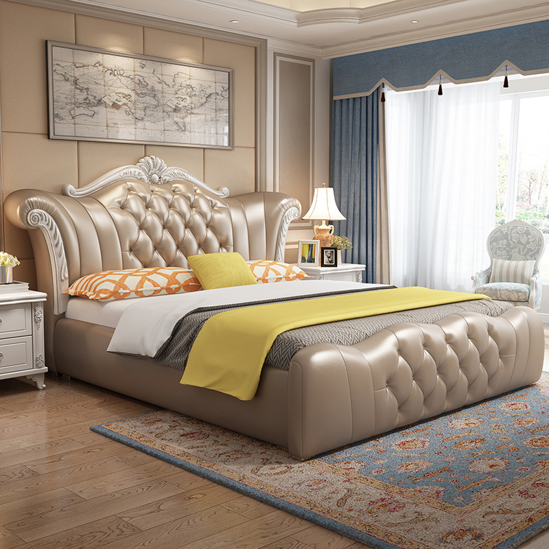 European style modern leather backrest solid wood frame living room double bed with storage box bedroom furniture