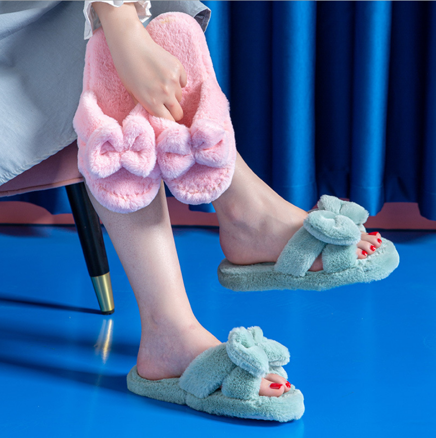 Wholesale Women Home Slippers Fluffy bowknot Home Slippers For Women Floor Cotton Flax Slippers With Soft Bottom