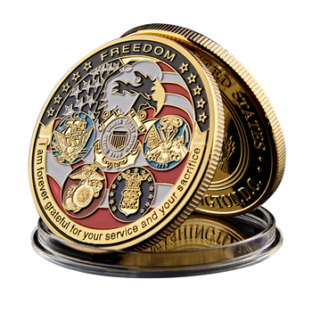 Custom USA Military Navy Marine Enamel Souvenir Brass Copper Gold Plated Collectable Commemorative Metal Challenge Coin