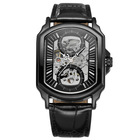 Skeleton Automatic Men's watch Rectangular Watch hot Selling leather strap clock timepieces