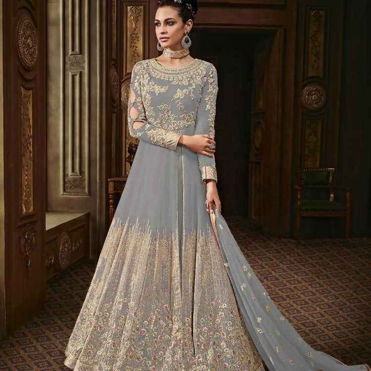 Grey Georgette Churidar Suit / Womens Salwar Kameez Online Buy