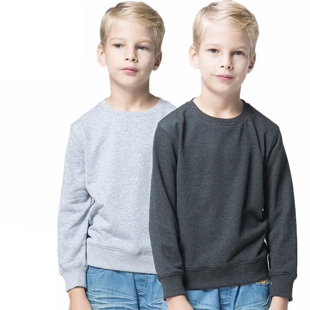 Осень-зима 2019 детская куртка для отдыха с логотипом на заказ хлопковые вязаные свитшоты без рисунка с круглым вырезом для детей