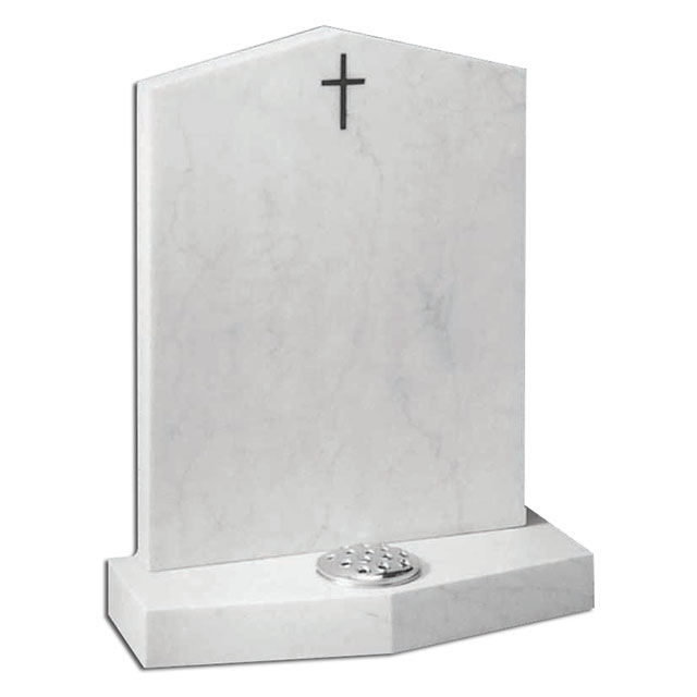 Engraved Natural Marble Cross Headstone for Sale