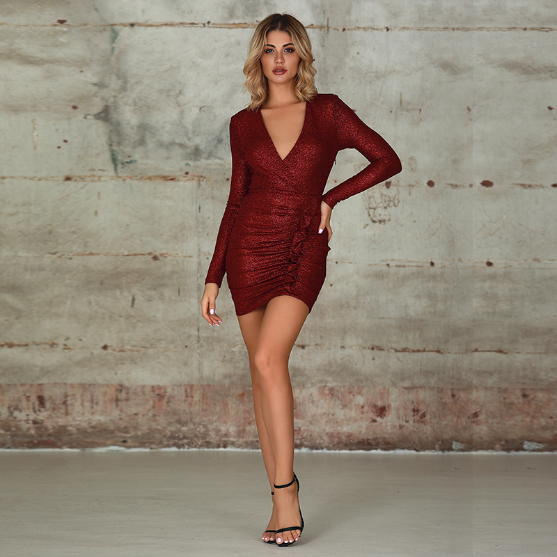 Weixin Fashion Womens Clothing Deep V Long Sleeve Ruffle Wrap Tube Bodycon Party Club Dresses