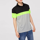 Wholesale Colorblock Summer Men 100% Polyester Buttoned Short Sleeve Sporty Polo Shirt