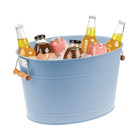 Metal Beverage Tub Beer Ice Bucket Portable Party Drink Chiller 18 Liter Container Oval Storage Bucket Wooden Handle