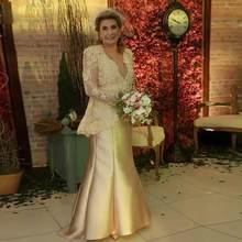 Золотые платья из двух частей для матери невесты с болеро, v-образный вырез, Кружевная аппликация, свадебное платье, одежда для гостей, атлас...(Китай)