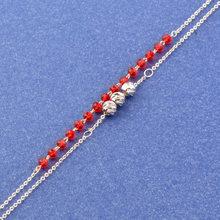 Женский браслет на щиколотке SINLEERY, металлический двухслойный браслет на щиколотке с красным кристаллом, JL010 SSD(Китай)