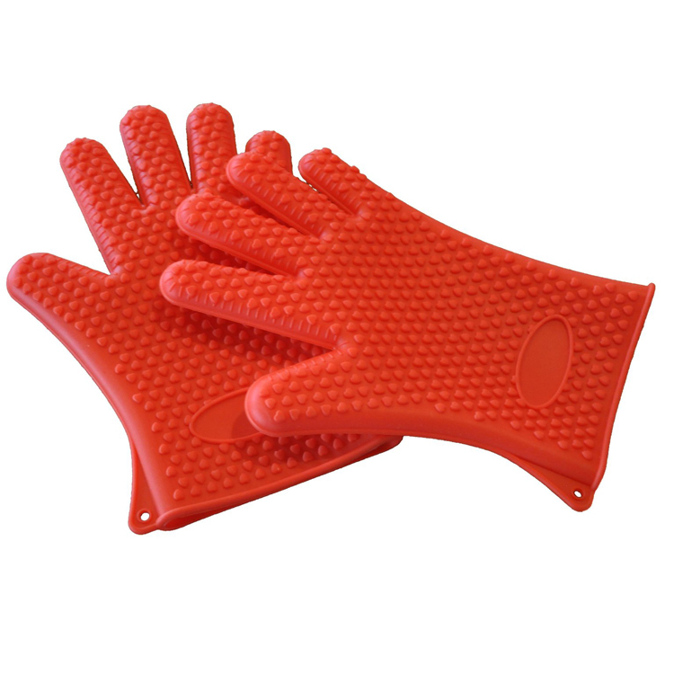 Heat Resistant Silicone BBQ Grilling Gloves for Cooking Baking Barbecue Potholder