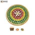 YiMi Children's Hobby Tray Mosaic Diy Color Coaster Base Crafts Kit Art Bamboo And Glass