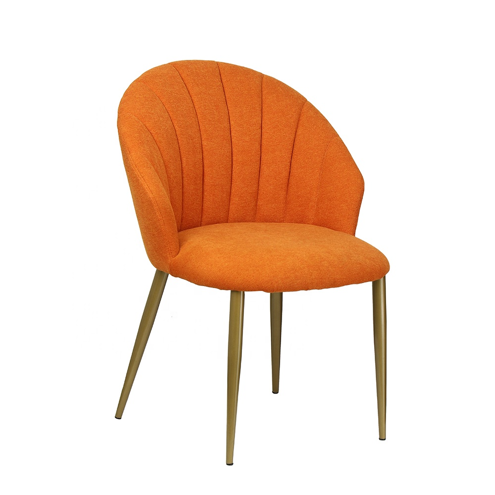 Manufacturer Simple Design Linen Fabric Covered Shell Back Metal Legs Wholesale Dining Chair