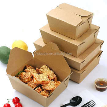 China Wholesale Disposable Packaging Kraft Whiteboard Takeaway Food Paper Box