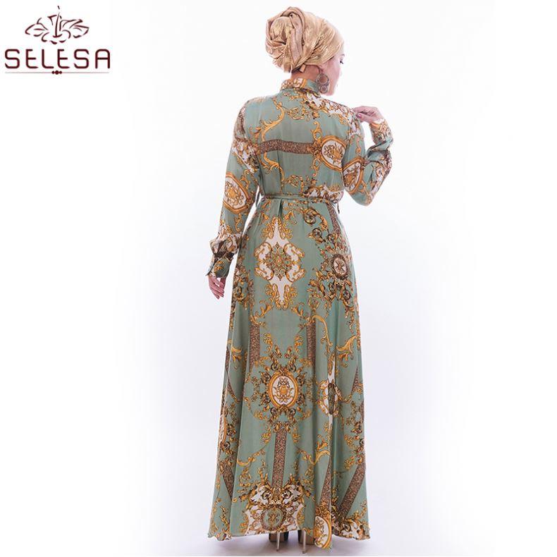 Custom Muslimah Wear Fashion Islamic Clothing Satin Floral Print Kebaya Baju Kurung Tunik Dresses Jilbab Muslim Dress