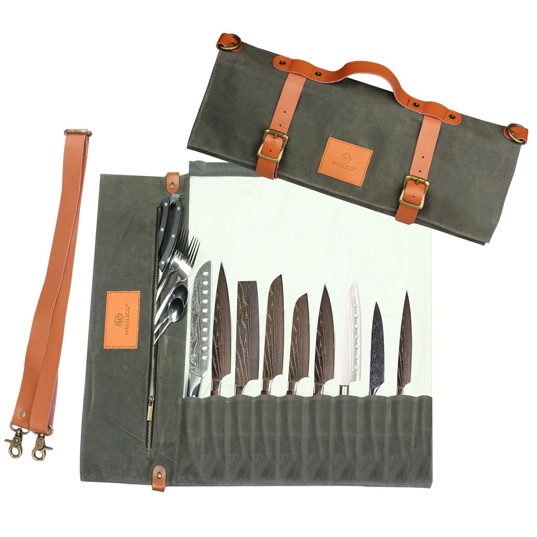 Чехол для ножа шеф-повара холстяная рулон мешок изготовленный на заказ кожаный чехол для хранения с 11 карман 10 летним заводом
