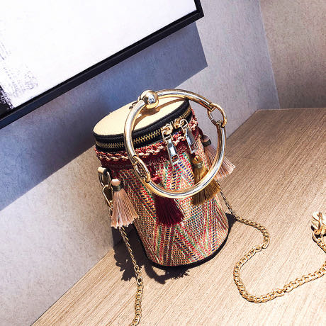 Ethnic Style New Tassel Straw Bucket Bag Joker Chain Shoulder Fashion Portable Slung Handbag