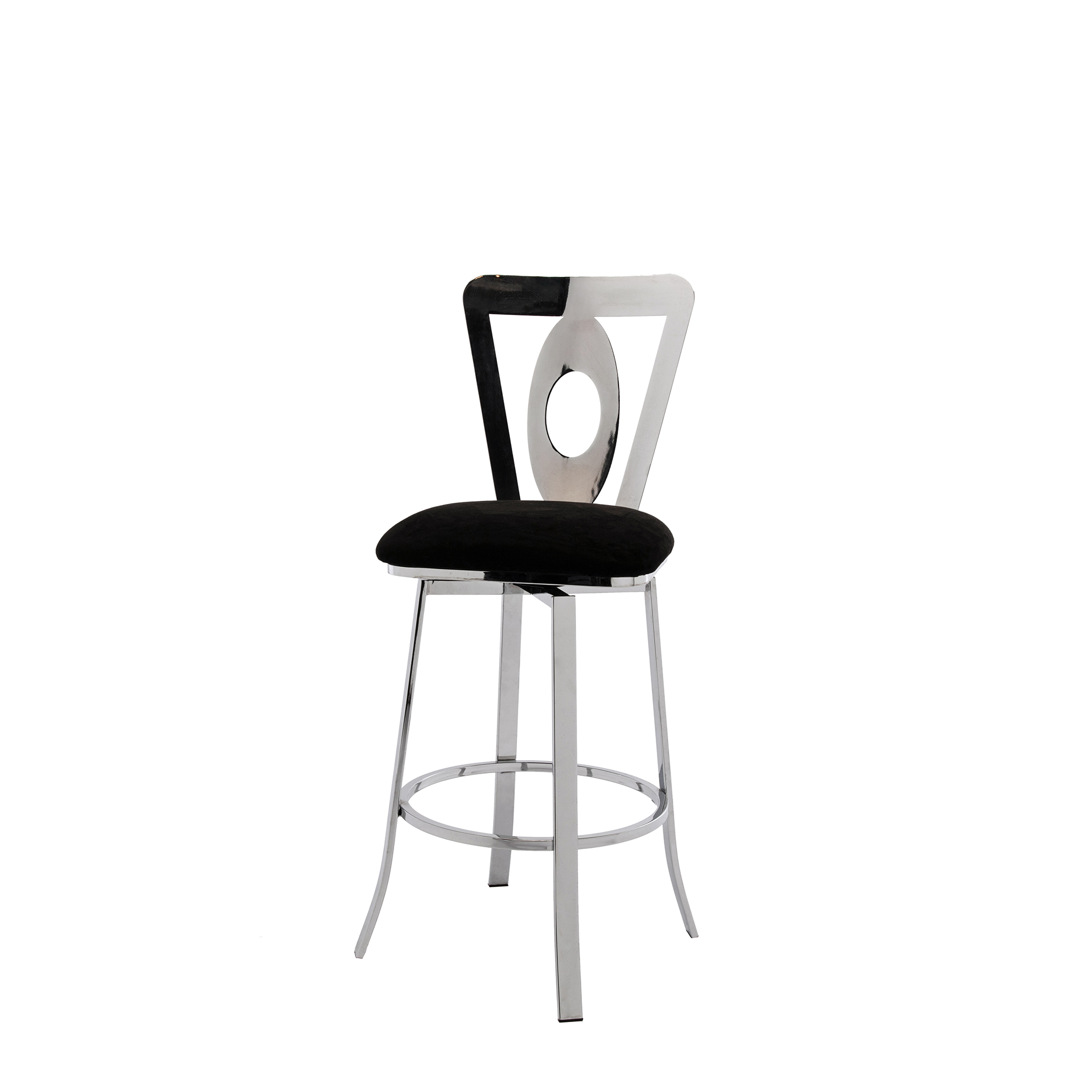Modern Furniture Breakfast Counter Black Velvet Silver Metal Base Bar Stools Chairs With High Back