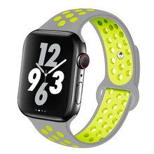 Спортивный ремешок для наручных часов Apple watch, версии 44 мм/40 мм iWatch полосы 42 мм/38 мм силиконовый ремешок для часов ремень correa браслет для серии...(Китай)