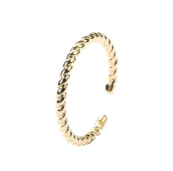 instagram fashion jewelry simple design twist ring gold plated 925 sterling silver adjustable resizable ring open ring