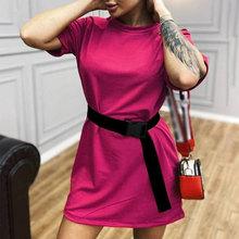 Летняя женская рубашка мини-платье с поясом белые спортивные с коротким рукавом повседневные женские платья 2020 модная уличная женская одеж...(Китай)