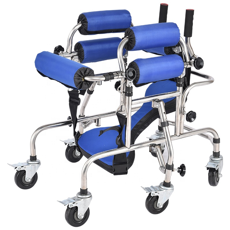 High quality anti rollover Disabled children walking aids hemiplegia lower limb training walker stainless steel standing frame