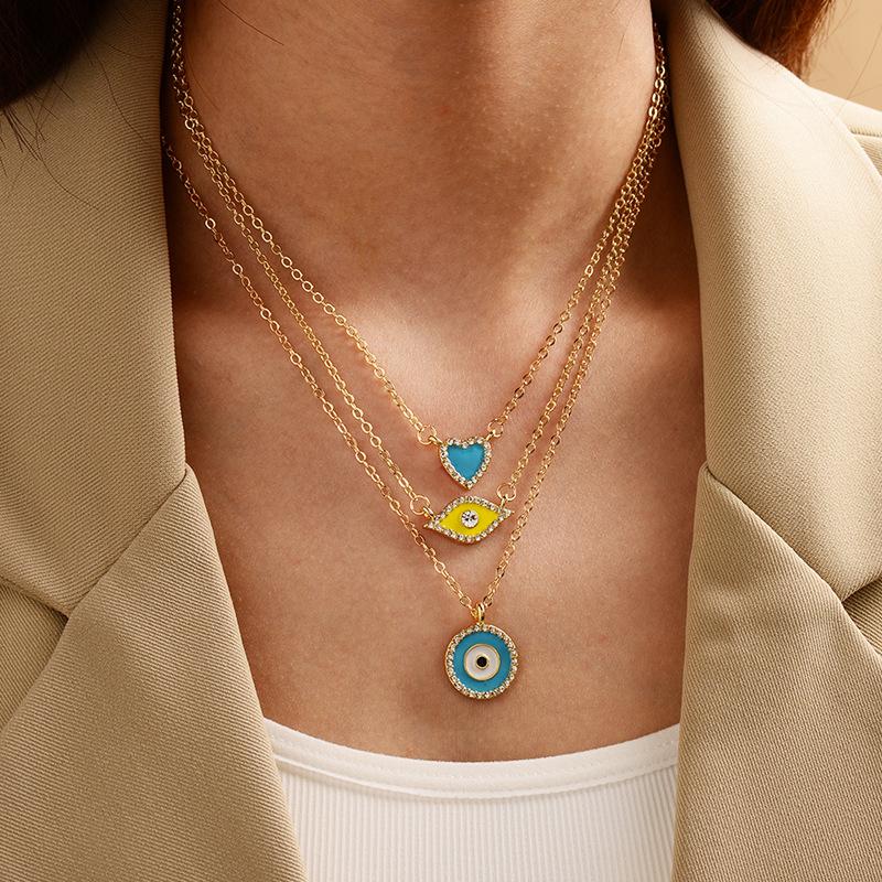 GOLD PLATED 18K Necklace Turkish Eye Evil Eye The Blue Eye