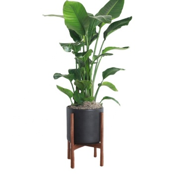 custom indoor outdoor Mid Century plant holder with adjustable stand modern tall flower pot with wood stand
