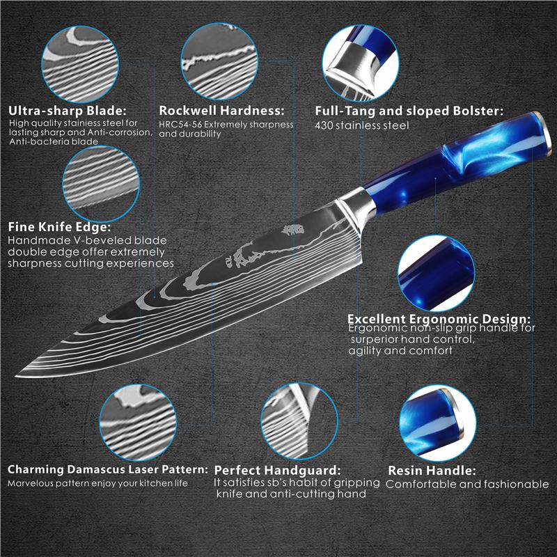 Dropshipping Hot Selling 8pcs 7pcs 5pcs OEM custom logo color handle stainless steel kitchen knives set