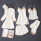 Ladies Sleep Sleepwear Supplier Wholesale Summer Ladies Sexy Long Sleeve Sleep Wear 5 Piece Suit Home Wear Short Dress Sleepwear Bridal Robe Silk Bathrobe Sets