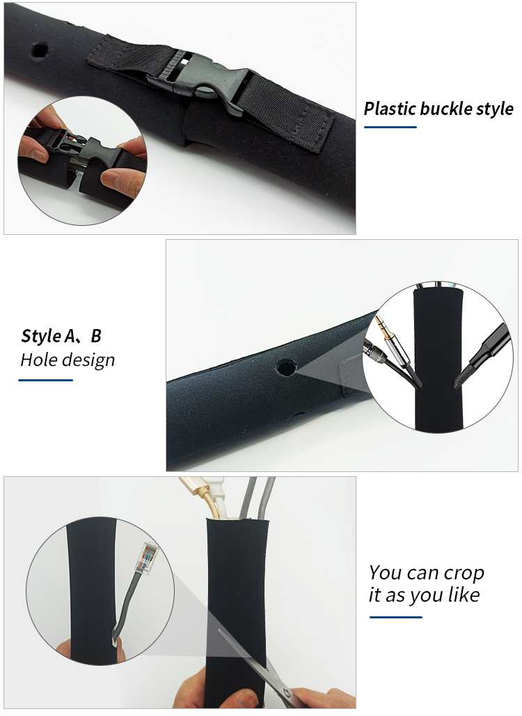 Easy Separating Dust Proof Neoprene Material Cable Management Sleeve With Zipper And Holes