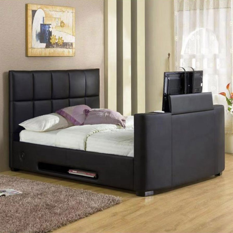 high quality black modern bedroom furniture puleather king size bed tv modern bed with tv