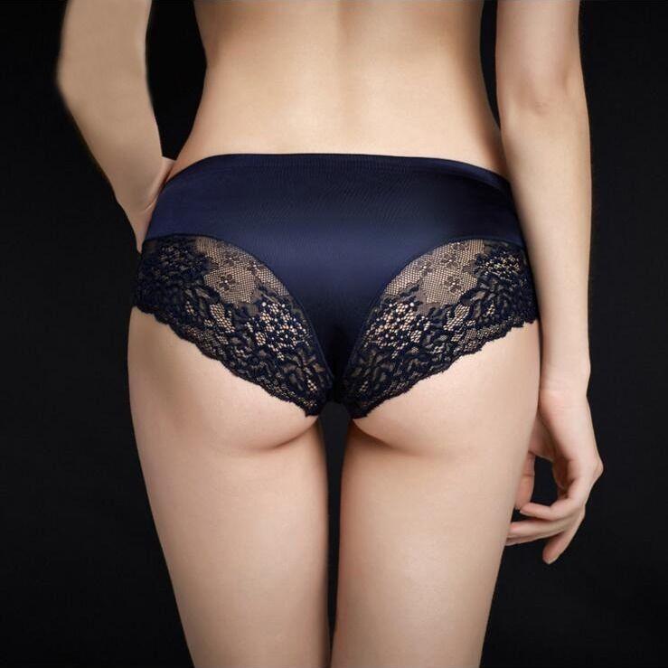 Women Briefs Ladies Ice Silk Seamless Transparent Underwear Lace Underwear seamless
