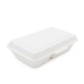 Cheap Bagasse Tableware Disposable Lock Box Take Away Container Paper Food Two Compartment Box