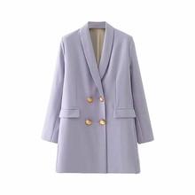 ZRN Повседневный двубортный женский пиджак с карманами, декоративный женский пиджак, однотонный блейзер из органической кожи, женская верхн...(Китай)
