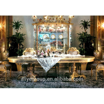 AAS8301-Italy Baroque Palace Style Dining Room Set, Gorgeous Solid Wood Carving Marquetry Inlay Dining Room Furniture Set