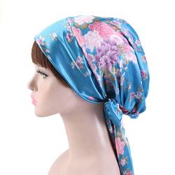 Африканская Женская печатная лента с бантом шарф Кепка Ночная Кепка шелковая Кепка Chemo атласная тканевая шляпа