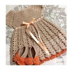 Wholesale Boutique Baby Girl Cotton Knitting Frocks Design Of Crochet Dress With Crochet Shoes