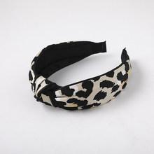 Женский ободок с леопардовым принтом, широкий ободок с узлом на макушке, винтажные аксессуары для волос в виде тюрбана из полиэстера/искусс...(Китай)
