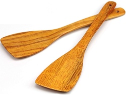 Wooden Spatula for Cooking Utensils Long Handled, Kitchen Spatula Set for Pan and Wok Wood Turner, Corner Spatula, Spoons