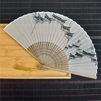 [i Am Your Fans]sufficient Stock! Chinese famous painting residential houses Japanese hand fan