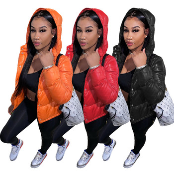 2020 Cotton Women Winter Waterproof Puffer Coat Crop Jacket Woman Shiny Plus Size Hooded Puff Bubble Down Coat For Ladies