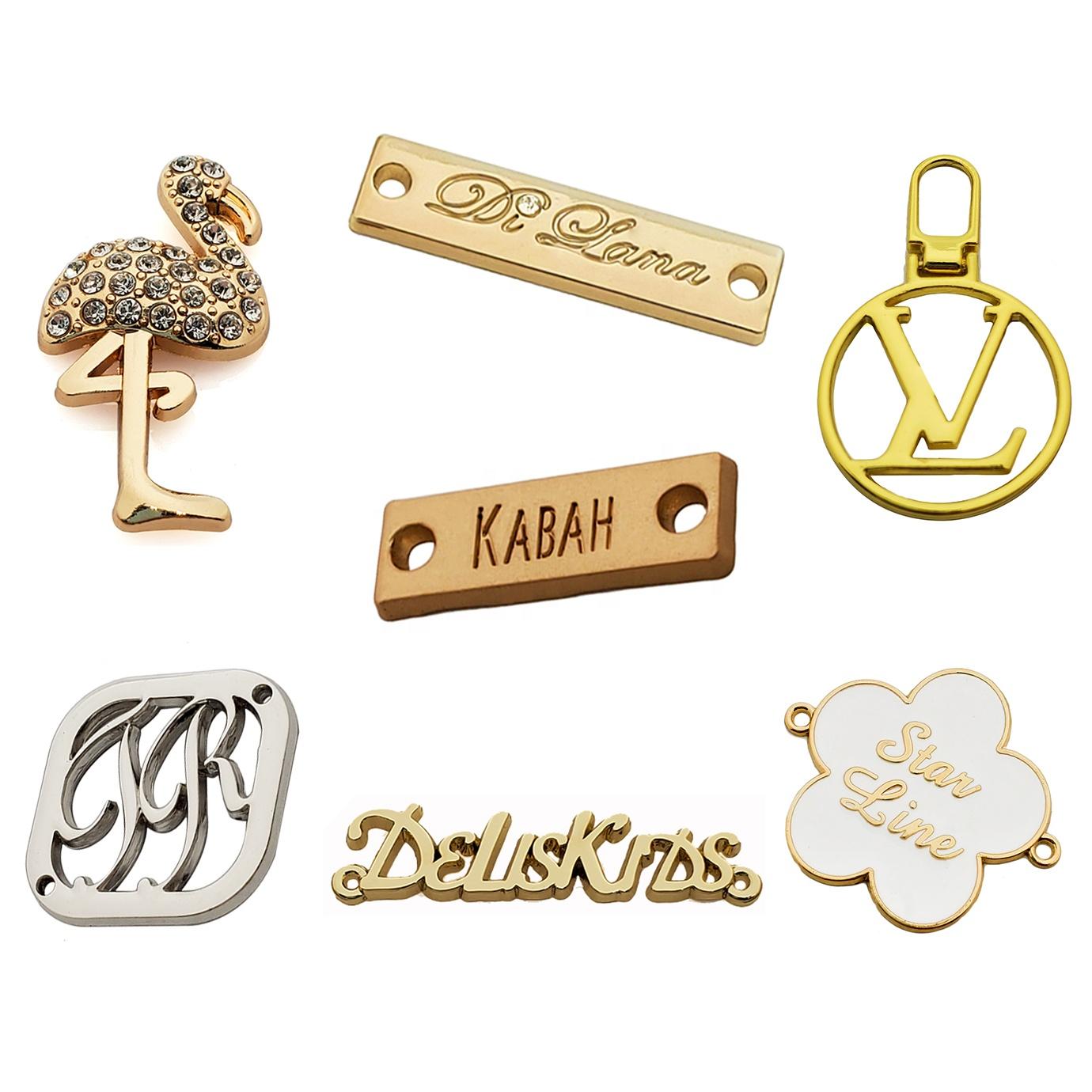 designer engraved sculpture Clothing metal label Accessories custom metal bag label adhesive brand logo labels