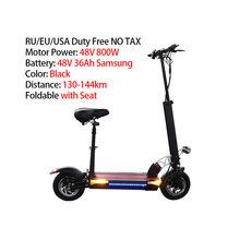Американский Европейский склад 144 км Электрический скутер для взрослых 48V800W мощный задний мотор 10 дюймов шина складной электрический скейт...(Китай)