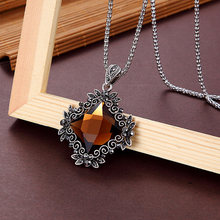 Новинка, модное женское ожерелье с подвеской, квадратное, большое, Кристальное, национальное, ветровое, длинное ожерелье с цепочкой, ожерель...(Китай)